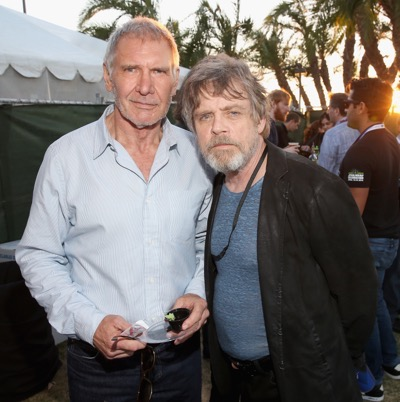 SAN DIEGO, CA - JULY 10: Actors Harrison Ford (L), Mark Hamill and more than 6000 fans enjoyed a surprise `Star Wars` Fan Concert performed by the San Diego Symphony, featuring the classic `Star Wars` music of composer John Williams, at the Embarcadero Marina Park South on July 10, 2015 in San Diego, California.  (Photo by Jesse Grant/Getty Images for Disney) *** Local Caption *** Harrison Ford; Mark Hamill