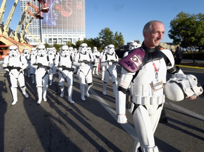 "SAN DIEGO, CA - JULY 10:  Following the `Star Wars` Hall H presentation at Comic-Con International 2015 at the San Diego Convention Center in San Diego, Calif., 501st Legion member, Kevin Doyle and the audience of more than 6000 fans walked to a surprise `Star Wars` Fan Concert performed by the San Diego Symphony, featuring the classic ""Star Wars"" music of composer John Williams, at the Embarcadero Marina Park South on July 10, 2015 in San Diego, California.  (Photo by Michael Buckner/Getty Images for Disney) *** Local Caption *** Kevin Doyle"