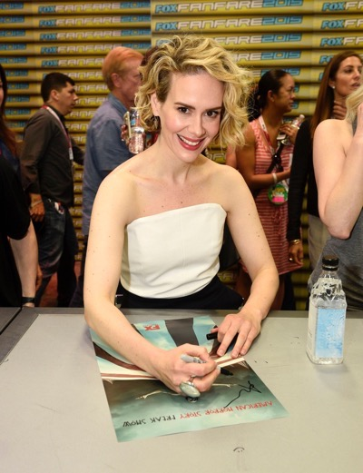 Sarah Paulson at the 'American Horror Story' booth signing during Comic-Con International 2015 at the San Diego Convention Center on July 12, 2015 in San Diego, California. Cr: Alan Hess/PictureGroup/FX