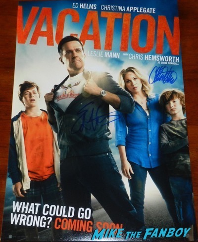 Christina Applegate ed helms signed autograph vacation poster