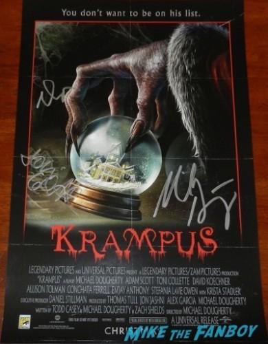 Krampus signed autograph movie poster sdcc 2015 toni collette adam scott
