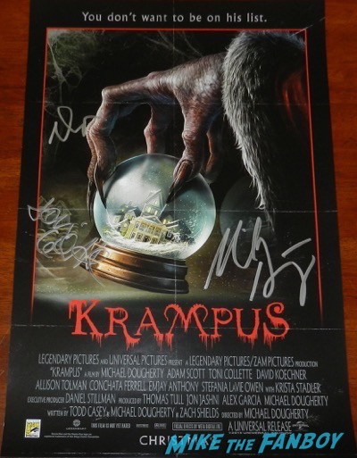 Krampus signed autograph movie poster sdcc 2015 toni collette adam scott