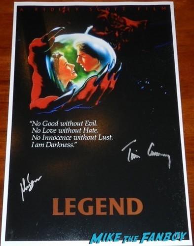 Mia Sara signed legend mini poster tim curry