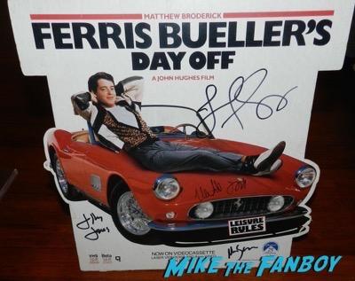 Mia Sara signed ferris bueller counter stand