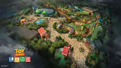 Toy Story Land at Disney's Hollywood Studios in Florida -- The reimagining of Disney's Hollywood Studios will take guests to infinity and beyond, allowing them to step into the worlds of their favorite films, starting with Toy Story Land. This new 11-acre land will transport guests into the adventurous outdoors of Andy's backyard. Guests will think they've been shrunk to the size of Woody and Buzz as they are surrounded by oversized toys that Andy has assembled using his vivid imagination.  Using toys like building blocks, plastic buckets and shovels, and game board pieces, Andy has designed the perfect setting for this land, which will include two new attractions for any Disney park and one expanded favorite. (Disney Parks)