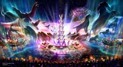 """""""Rivers of Light"""" at Disney's Animal Kingdom – Expected to open next spring, """"Rivers of Light"""" will be an innovative experience unlike anything ever seen in a Disney park, combining live music, floating lanterns, water screens and swirling animal imagery. """"Rivers of Light"""" will magically come to life on the natural stage of Discovery River, delighting guests and truly capping off a full day of adventures at Disney's Animal Kingdom. (Disney Parks)"""