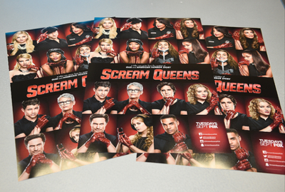 FOX FANFARE AT SAN DIEGO COMIC-CON © 2015: L-R: SCREAM QUEENS cast members Emma Roberts and Jamie Lee Curtis during the SCREAM QUEENS booth signing on Sunday, July 12 at the FOX FANFARE AT SAN DIEGO COMIC-CON © 2015. CR: Alan Hess/FOX © 2015 FOX BROADCASTING.