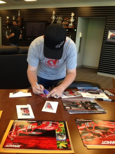 Justin Allgaier signing fanmail autograph