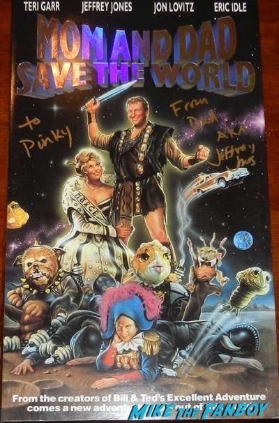 Jeffrey Jones signed autograph mom and dad save the world oversize VHS Box