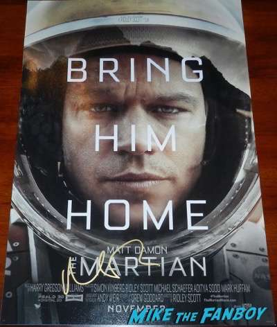 Matt damon signed the martian poster autograph