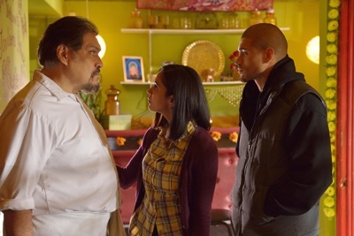 "THE STRAIN -- ""The Silver Angel"" -- Episode 204 (Airs August 2, 10:00 pm e/p) Pictured: (l-r) Joaquin Cosio as Angel Guzman Hurtado, Parveen Kaur as Aanya Gupta, Miguel Gomez as Gus Elizade."