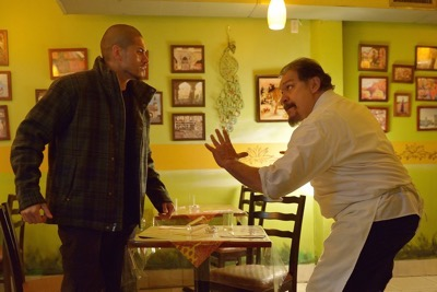 "THE STRAIN -- ""The Silver Angel"" -- Episode 204 (Airs August 2, 10:00 pm e/p) Pictured: (l-r) Miguel Gomez as Gus Elizade, Joaquin Cosio as Angel Guzman Hurtado."