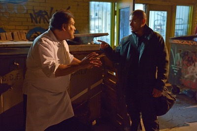 """THE STRAIN -- """"The Silver Angel"""" -- Episode 204 (Airs August 2, 10:00 pm e/p) Pictured: (l-r) Joaquin Cosio as Angel Guzman Hurtado, Miguel Gomez as Gus Elizade."""