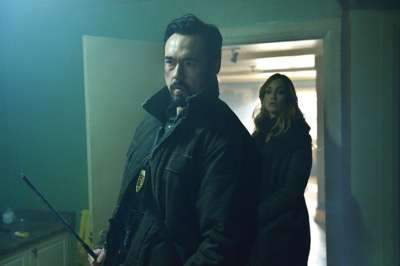 "THE STRAIN -- ""Quick and Painless"" -- Episode 205 (Airs August 9, 10:00 pm e/p) Pictured: (l-r) Kevin Durand as Vasiliy Fet, Ruta Gedmintas as Dutch Velders."