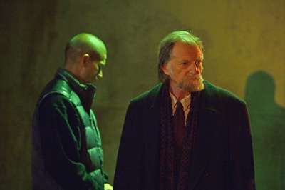 "THE STRAIN -- ""BK, NY"" -- Episode 201 (Airs July 12, 10:00 pm e/p) Pictured: (l-r) Miguel Gomez as Gus Elizade, David Bradley as Abraham Setrakian. CR: Michael Gibson/FX"