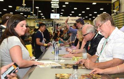 FOX FANFARE AT SAN DIEGO COMIC-CON © 2015: THE SIMPSONS executive producer Matt Groening (R) during THE SIMPSONS booth signing on Saturday, July 11 at the FOX FANFARE AT SAN DIEGO COMIC-CON © 2015. CR: Alan Hess/FOX © 2015 FOX BROADCASTING.