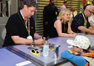FOX FANFARE AT SAN DIEGO COMIC-CON © 2015: L-R: THE SIMPSONS executive producer Al Jean and cast member Nancy Cartwright during THE SIMPSONS booth signing on Saturday, July 11 at the FOX FANFARE AT SAN DIEGO COMIC-CON © 2015. CR: Alan Hess/FOX © 2015 FOX BROADCASTING.