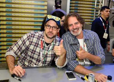 FOX FANFARE AT SAN DIEGO COMIC-CON © 2015: L-R: THE SIMPSONS executive producer Matt Selman and cast member David Silverman during THE SIMPSONS booth signing on Saturday, July 11 at the FOX FANFARE AT SAN DIEGO COMIC-CON © 2015. CR: Alan Hess/FOX © 2015 FOX BROADCASTING.