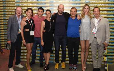 From left, David Bradley, Natalie Brown, Miguel Gomez, Mia Maestro, Corey Stoll, Richard Sammel, Ruta Gedmintas, and Jonathan Hyde at the 'The Strain' booth signing during Comic-Con International 2015 at the San Diego Convention Center on July 12, 2015 in San Diego, California. Cr: Alan Hess/PictureGroup/FX
