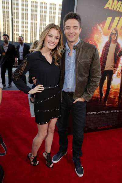 Ashley Hinshaw and Topher Grace seen at The World Premiere of Lionsgate's 'American Ultra' at Ace Hotel on Tuesday, August 18, 2015, in Los Angeles, CA. (Photo by Eric Charbonneau/Invision for Lionsgate/AP Images)