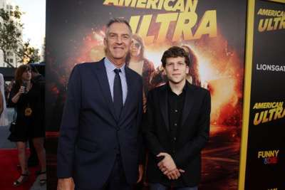 Steve Beeks, Co-Chief Operating Officer and President of Lionsgate Motion Picture Group, and Jesse Eisenberg seen at The World Premiere of Lionsgate's 'American Ultra' at Ace Hotel on Tuesday, August 18, 2015, in Los Angeles, CA. (Photo by Eric Charbonneau/Invision for Lionsgate/AP Images)