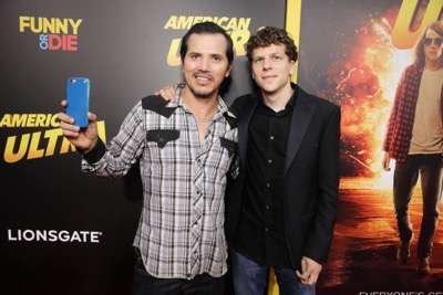 John Leguizamo and Jesse Eisenberg seen at The World Premiere of Lionsgate's 'American Ultra' at Ace Hotel on Tuesday, August 18, 2015, in Los Angeles, CA. (Photo by Eric Charbonneau/Invision for Lionsgate/AP Images)