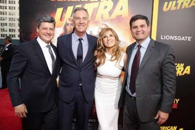 Producer Anthony Bregman, Steve Beeks, Co-Chief Operating Officer and President of Lionsgate Motion Picture Group, Connie Britton and Jason Constantine, President of Acquisitions and Co-Productions of Lionsgate Motion Picture Group, seen at The World Premiere of Lionsgate's 'American Ultra' at Ace Hotel on Tuesday, August 18, 2015, in Los Angeles, CA. (Photo by Eric Charbonneau/Invision for Lionsgate/AP Images)
