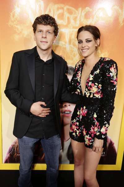 Jesse Eisenberg and Kristen Stewart seen at The World Premiere of Lionsgate's 'American Ultra' at Ace Hotel on Tuesday, August 18, 2015, in Los Angeles, CA. (Photo by Eric Charbonneau/Invision for Lionsgate/AP Images)