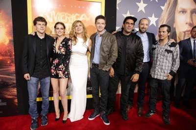 Jesse Eisenberg, Kristen Stewart, Connie Britton, Topher Grace, Director Nima Nourizadeh, Tony Hale and John Leguizamo seen at The World Premiere of Lionsgate's 'American Ultra' at Ace Hotel on Tuesday, August 18, 2015, in Los Angeles, CA. (Photo by Eric Charbonneau/Invision for Lionsgate/AP Images)