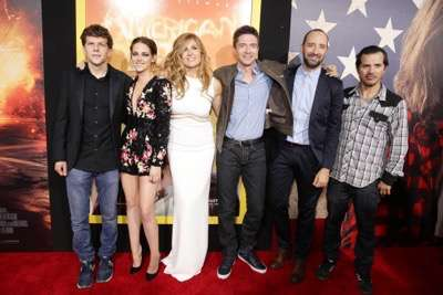 Jesse Eisenberg, Kristen Stewart, Connie Britton, Topher Grace, Tony Hale and John Leguizamo seen at The World Premiere of Lionsgate's 'American Ultra' at Ace Hotel on Tuesday, August 18, 2015, in Los Angeles, CA. (Photo by Eric Charbonneau/Invision for Lionsgate/AP Images)