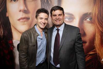 Topher Grace and Jason Constantine, President of Acquisitions and Co-Productions of Lionsgate Motion Picture Group, seen at The World Premiere of Lionsgate's 'American Ultra' at Ace Hotel on Tuesday, August 18, 2015, in Los Angeles, CA. (Photo by Eric Charbonneau/Invision for Lionsgate/AP Images)