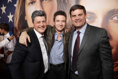 Producer Anthony Bregman, Topher Grace and Jason Constantine, President of Acquisitions and Co-Productions of Lionsgate Motion Picture Group, seen at The World Premiere of Lionsgate's 'American Ultra' at Ace Hotel on Tuesday, August 18, 2015, in Los Angeles, CA. (Photo by Eric Charbonneau/Invision for Lionsgate/AP Images)
