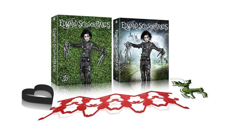 Edward Scissorhands new blu-ray package with paper hearts cookie cutter