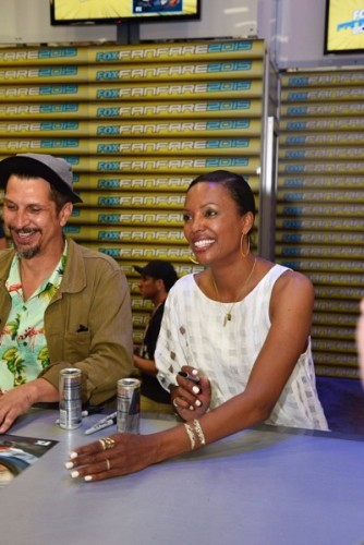 Lucky Yates (left), Aisha Tyler during The 'Archer' booth signing at Comic-Con International 2015 in San Diego, California.  Cr: Alan Hess/PictureGroup/FX