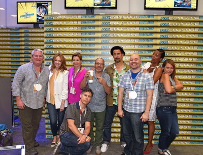Pictured (l-r): Adam Reed, Judy Greer, Jessica Walter, H. Jon Benjamin, Lucky Yates, Co-Executive Producer, Casey Willis, Aisha Tyler, Amber Nash, Chris Parnell (bottom row) during The 'Archer' booth signing at Comic-Con International 2015 in San Diego, California.  Cr: Alan Hess/PictureGroup/FX