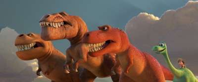 "A TRIO OF T-REXES — An Apatosaurus named Arlo must face his fears—and three impressive T-Rexes—in Disney•Pixar's ""The Good Dinosaur."" Featuring the voices of AJ Buckley, Anna Paquin and Sam Elliott as the T-Rexes, ""The Good Dinosaur"" opens in theaters nationwide Nov. 25, 2015. ©2015 Disney•Pixar. All Rights Reserved."