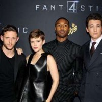 """8/4/15-- Brooklyn, NY - Twentieth Century Fox Presents """"FANTASTIC 4"""". -PICTURED: Jamie Bell, Kate Mara, Michael B. Jordan, Miles Teller -PHOTO by: Marion Curtis/Starpix -FILENAME: MC_15_01011177.JPG -LOCATION: Williamsburg Cinemas Editorial - Rights Managed Image - Please contact www.startraksphoto.com for licensing fee Startraks Photo New York, NY Image may not be published in any way that is or might be deemed defamatory, libelous, pornographic, or obscene. Please consult our sales department for any clarification or question you may have. Startraks Photo reserves the right to pursue unauthorized users of this image. If you violate our intellectual property you may be liable for actual damages, loss of income, and profits you derive from the use of this image, and where appropriate, the cost of collection and/or statutory damages."""