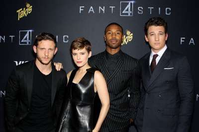 "8/4/15-- Brooklyn, NY - Twentieth Century Fox Presents ""FANTASTIC 4"".  -PICTURED: Jamie Bell, Kate Mara, Michael B. Jordan, Miles Teller -PHOTO by: Marion Curtis/Starpix  -FILENAME: MC_15_01011177.JPG -LOCATION: Williamsburg Cinemas  Editorial - Rights Managed Image - Please contact www.startraksphoto.com for licensing fee Startraks Photo New York, NY Image may not be published in any way that is or might be deemed defamatory, libelous, pornographic, or obscene. Please consult our sales department for any clarification or question you may have. Startraks Photo reserves the right to pursue unauthorized users of this image. If you violate our intellectual property you may be liable for actual damages, loss of income, and profits you derive from the use of this image, and where appropriate, the cost of collection and/or statutory damages."