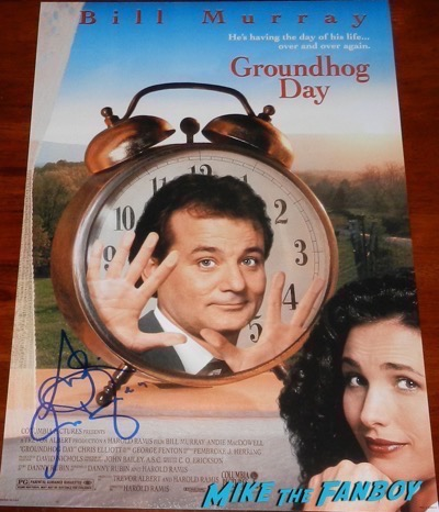 Andie MacDowell signed autograph groundhog day poster