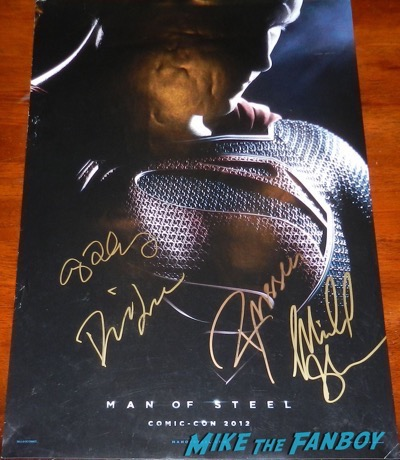 michael shannon signed man of steel poster diane lane russell crowe