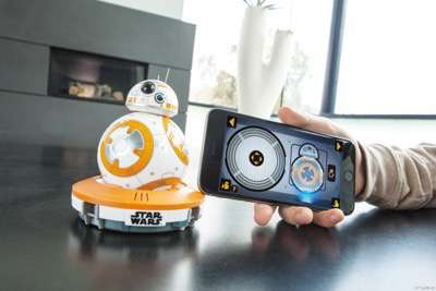 Star Wars BB-8..Licensee: Sphero.MSRP: $149.99.Available: September 4. .Meet BB-8, the app-enabled Droid by Sphero. This Droid?s personality begins to shine the second it wakes up. BB-8 is playful, personable, and true to the Star Wars galaxy. Based on your interactions, BB-8 will show a range of expressions and perk up when you give voice commands. Watch your Droid explore autonomously, guide BB-8 yourself with the companion app, or create and view holographic recordings. BB-8 is more than a toy ? it?s your companion..