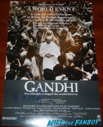 Ben Kingsley signed autograph gandhi poster movie