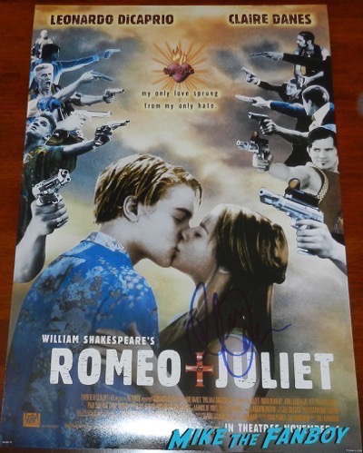 claire danes signed autograph Romeo and juliet poster