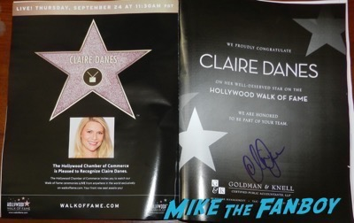 claire danes signed walk of fame advertisement autograph