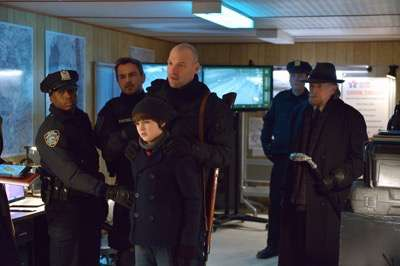 "THE STRAIN -- ""The Battle For Red Hook"" -- Episode 209 (Airs September 6, 10:00 pm e/p) Pictured: Max Charles as Zack Goodweather (bottom center), Corey Stoll as Ephraim Goodweather (center), David Bradley as Abraham Setrakian (far right). CR: Michael Gibson/FX"