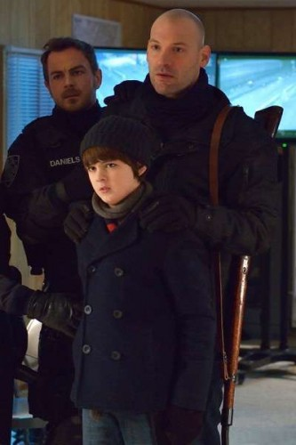 """THE STRAIN -- """"The Battle For Red Hook"""" -- Episode 209 (Airs September 6, 10:00 pm e/p) Pictured: (l-r) Max Charles as Zack Goodweather, Corey Stoll as Ephraim Goodweather. CR: Michael Gibson/FX"""