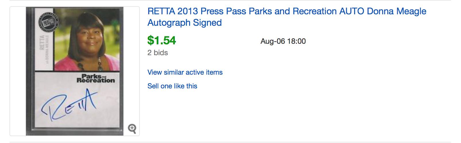 retta autograph screenshot ebay