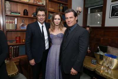 Benicio Del Toro, Emily Blunt and Josh Brolin seen at the SICARIO TIFF party hosted by GREY GOOSE Vodka and Soho House Toronto 2015 on Friday, September 11, 2015, in Toronto, CAN. (Photo by Vito Amali/Invision for Lionsgate/AP Images)