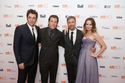 Benicio Del Toro, Josh Brolin, Director Denis Villeneuve and Emily Blunt seen at Lionsgate 'Sicario' Premiere at the 2015 Toronto International Film Festival on Friday, September 11, 2015, in Toronto, CAN. (Photo by Vito Amali/Invision for Lionsgate/AP Images)