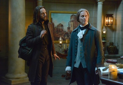 "SLEEPY HOLLOW: Ichabod (Tom Mison, L) encouters Thomas Jefferson (guest star Steven Weber, R) in the ""What Lies Beneath"" episode of SLEEPY HOLLOW airing Monday, Feb. 9 (9:00-10:00 PM ET/PT) on FOX. ©2015 Fox Broadcasting Co. CR: Brownie Harris/FOX"